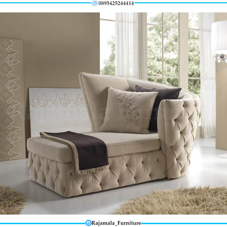 Sofa Malas Mewah Modern Brown Fabric Soft Royal Foam Furniture Jepara RM-0543