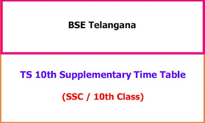 TS 10th Supplementary Exam Time Table