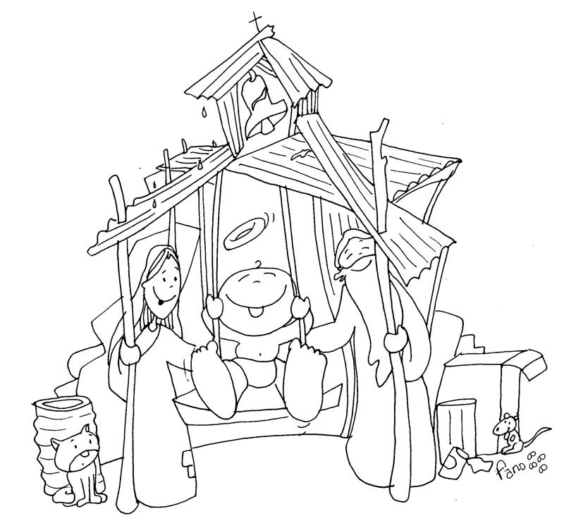 PARA COLOREAR: Dibujos de Pesebre navideo