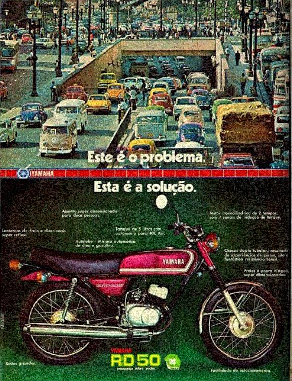 Propaganda antiga da Yamaha promovendo o modelo RD-50 em 1976