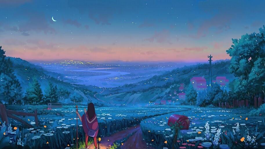 Fantasy, Anime, Night, Scenery, 4K, #6.1003