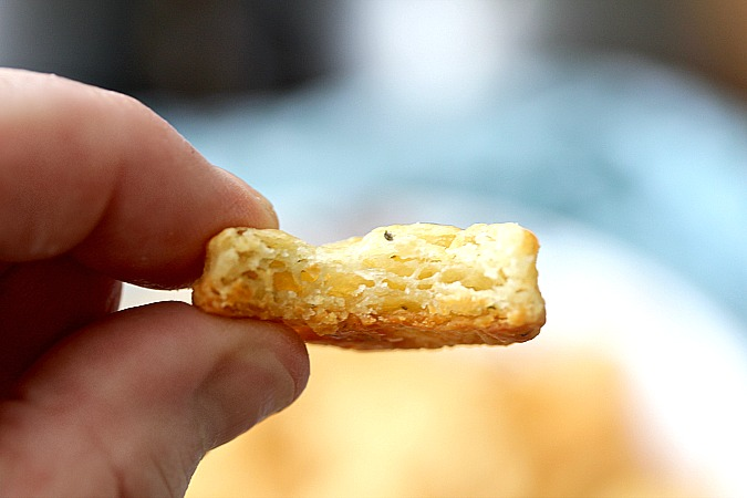 Hand holding a Sourdough Cracker with Gruyère and Thyme