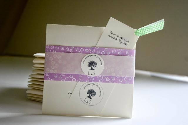 faire-part mariage romantique chic bohème papier japonais fait main