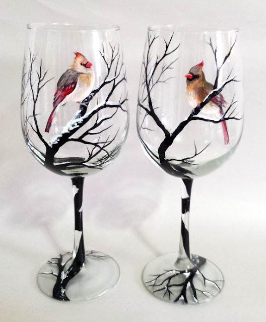 Trees & Birds hand-painted wine glasses DIY