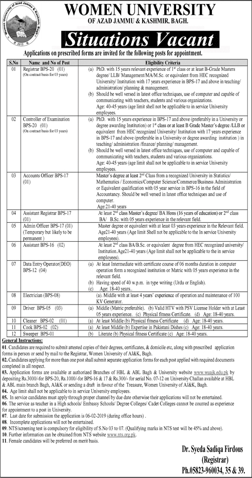 Women University Of Azad Jammu And Kashmir Bagh jobs 2019
