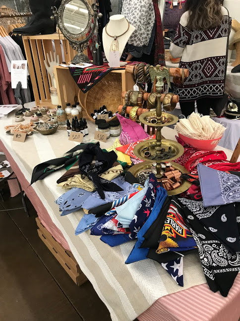 Head wraps and scarves on display at Flea Style Market. Morning Babbles