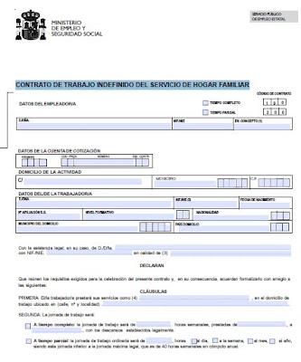 contrato oficial empleada hogar