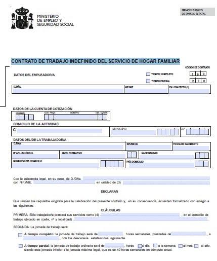 Modelo de contrato tipo oficial for Dar alta seguridad social empleada hogar