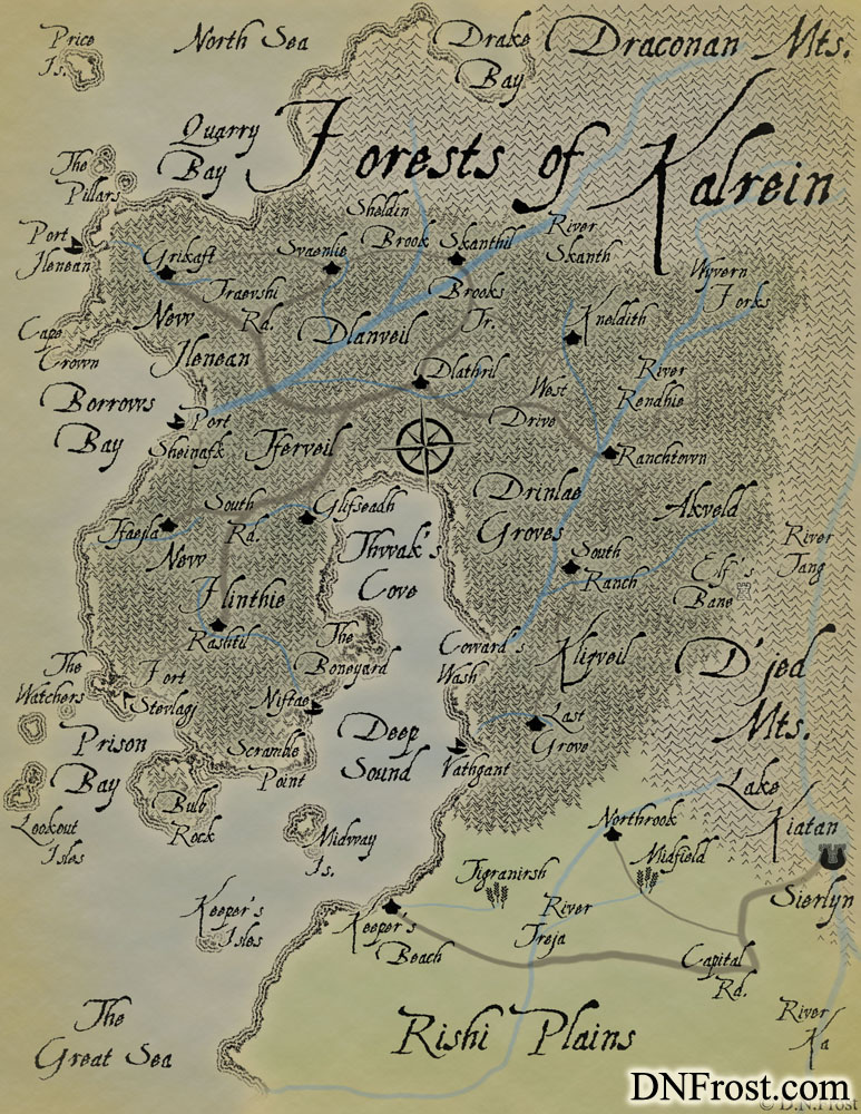 Kalrei, musical tongue of the northern faeries. Dialect by D.N.Frost for the TotKW Saga www.DNFrost.com/language