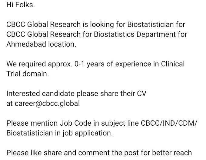 Biostatistician for CBCC Global Research