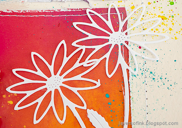 Layers of ink - Rainbow Blocks Scrapbooking Page by Anna-Karin Evaldsson. Simon Says Stamp Daisy Stem.