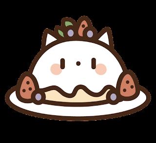 ねこドームケーキのイラスト