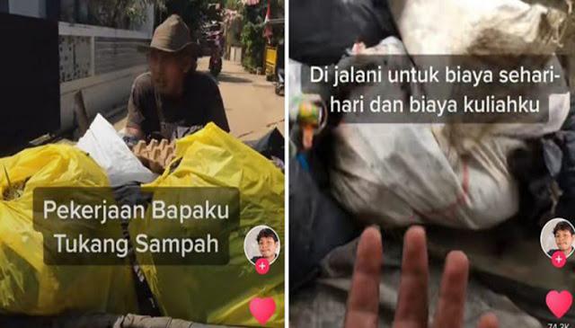 Meski Jadi Tukang Sampah dengan Upah Kecil, Bapak Ini Bisa Cukupi Kebutuhan dan Biaya Kuliah Anak
