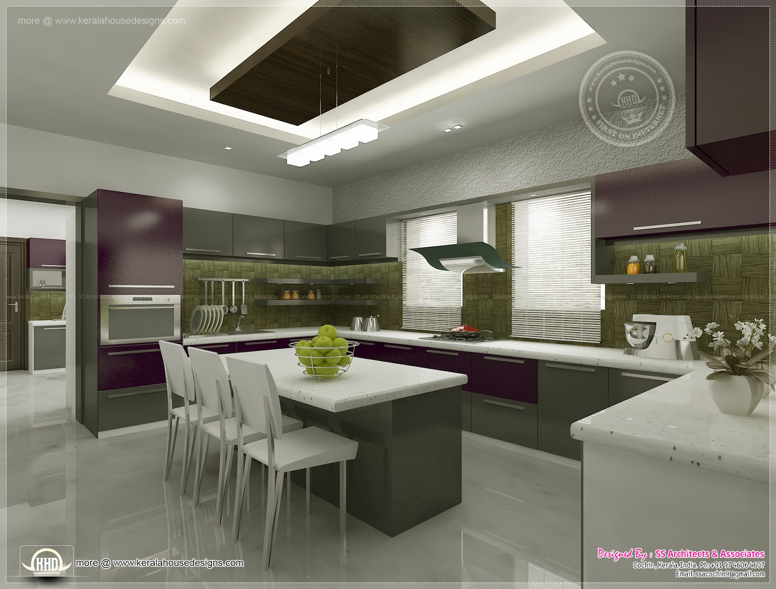Kitchen interior views by ss architects cochin kerala for House plans with interior pictures