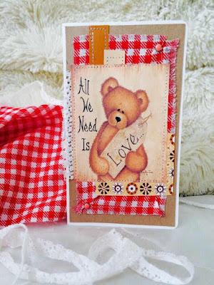 открытка, медведь, ручная работа, 14 февраля