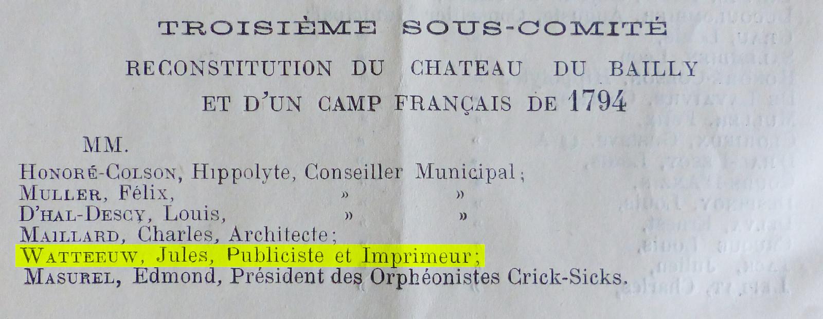 Centenaire Bataille de Tourcoing - Jules Watteeuw.