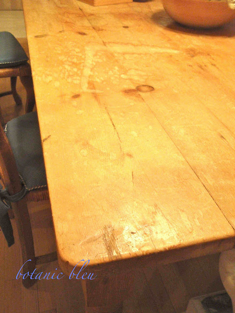 Pine Table Refinished before photo shows severe water damage