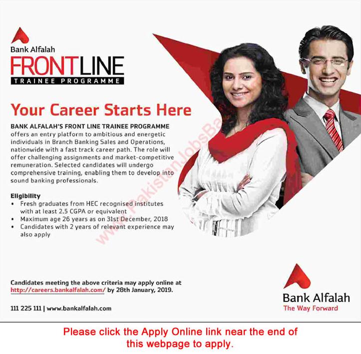 bank jobs in pakistan Bank alfalah jobs