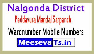 Peddavura Mandal Sarpanch Wardnumber Mobile Numbers List Part I Nalgonda District in Telangana State