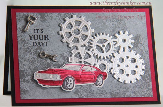 #thecraftythinker #stampinup #gearedupgarage #masculinecard #cardmaking , Garage Gears, Geared Up Garage, Masculine Card, Stampin' Up Australia Demonstrator, Stephanie Fischer, Sydney NSW