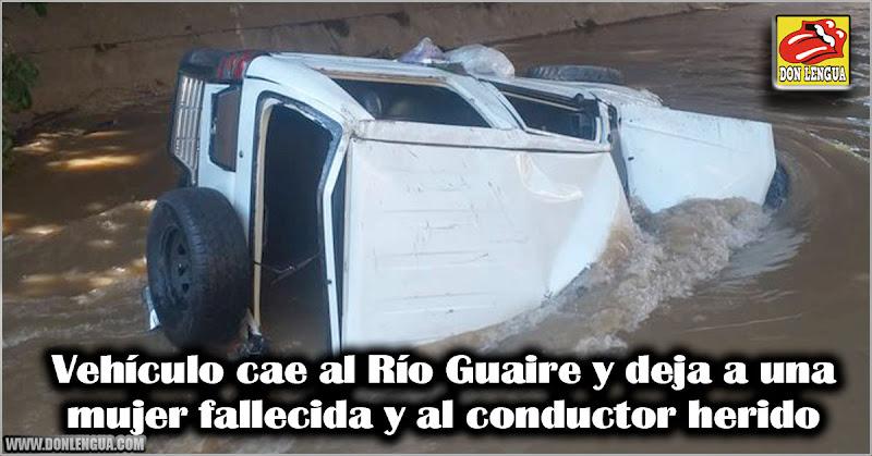 Vehículo cae al Río Guaire y deja a una mujer fallecida y al conductor herido