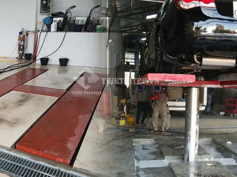 cầu nâng rửa xe, cầu nâng 1 trụ rửa xe, cầu nâng 1 trụ rửa xe chìm