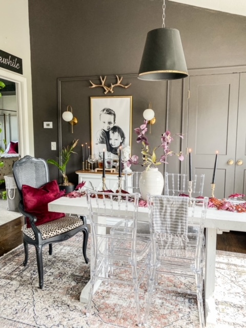 wine black and gold dining room