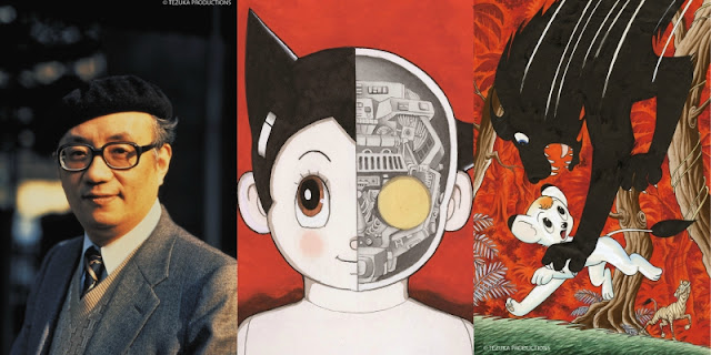 Osamu Tezuka creator and animator with his work Astro boy a young robot with shiny hair and huge anime eyes and a small lion named kimba caught by a huge black dog