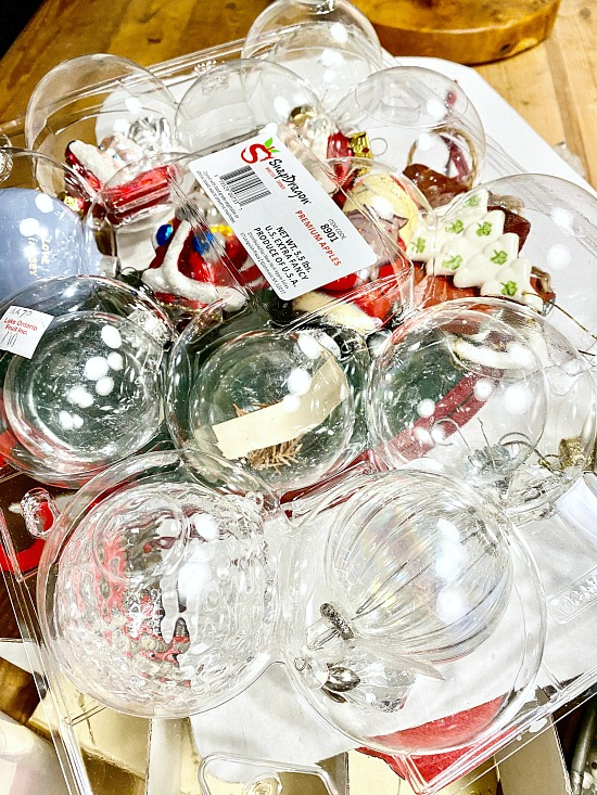 Apple storage container filled with ornaments