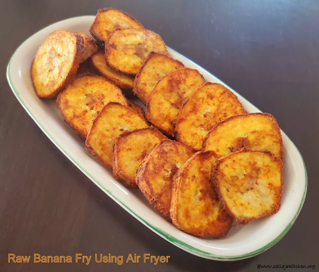 images of Air Fryer Raw Banana Fry / Air Fried Raw Banana / Spicy raw Banana Fry In Air Fryer / Vazhakai Fry Using Air Fryer