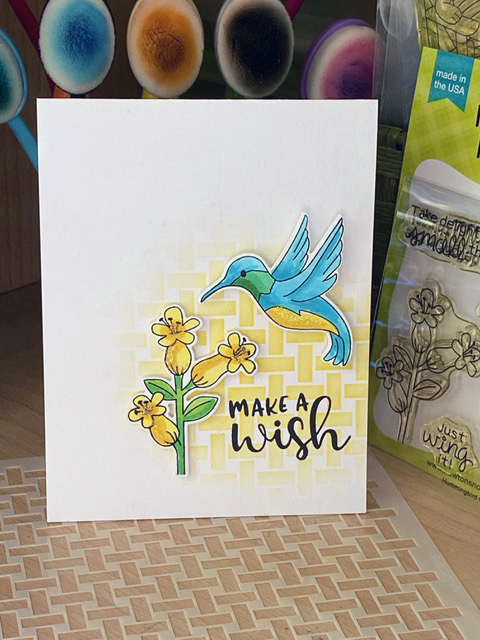 Make a wish by Sue T. features Hummingbird and Basketweave by Newton's Nook Designs; #inkypaws, #cardmaking, #newtonsnook, #birdcards, #stencil