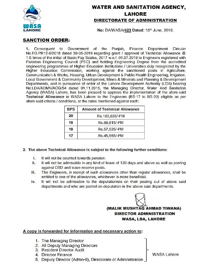 GRANT OF TECHNICAL ALLOWANCE TO THE ENGINEERS OF WASA