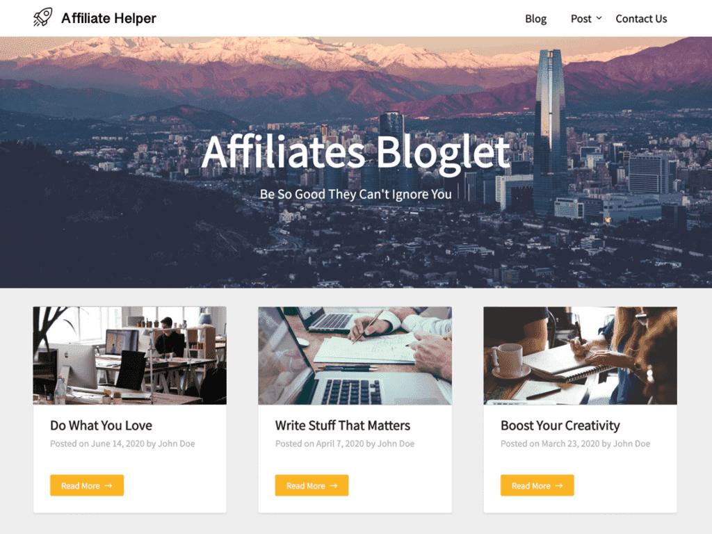 affiliates bloglet wordpress theme