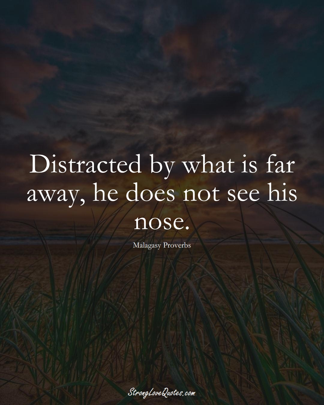 Distracted by what is far away, he does not see his nose. (Malagasy Sayings);  #AfricanSayings