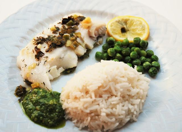 Filet de poisson blanc aux cébettes et citron