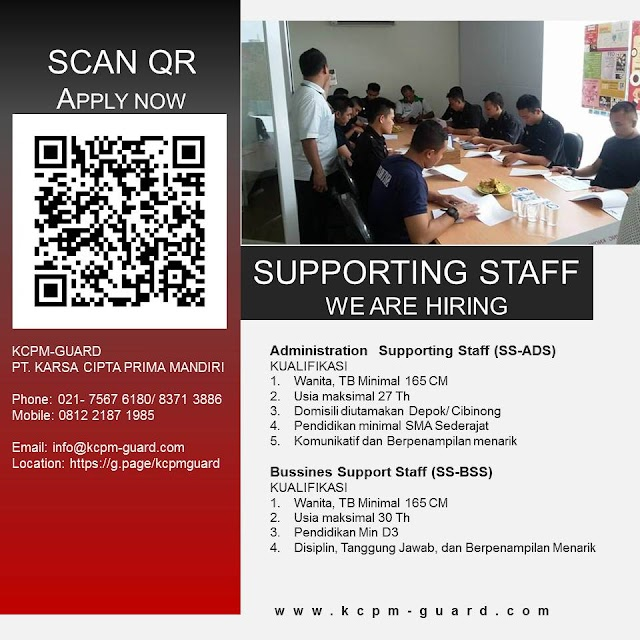 Info Lowongan Kerja Supporting Staff KCPM-GUARD