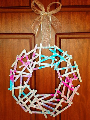 popsicle stick wreath craft for kids