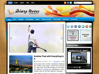 Free DiaryNotes Personal Blog WordPress Theme