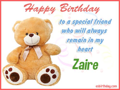 Zaire Happy birthday friend