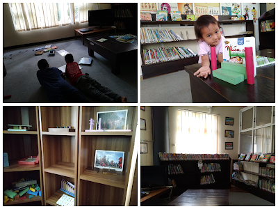 Foto ruang anak, anak bermain balok dan membaca buku, terdapat koleksi buku anak dan mainan edukatif perspida salatiga