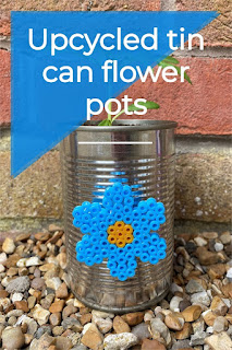 Upcycled tin can flower pots with Hama bead flowers tutorial