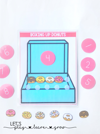 Practice counting, number recogntion, and one-to-one correspondene all in one engaging sweet treats themed activity. Kids will have fun boxing up the donuts.