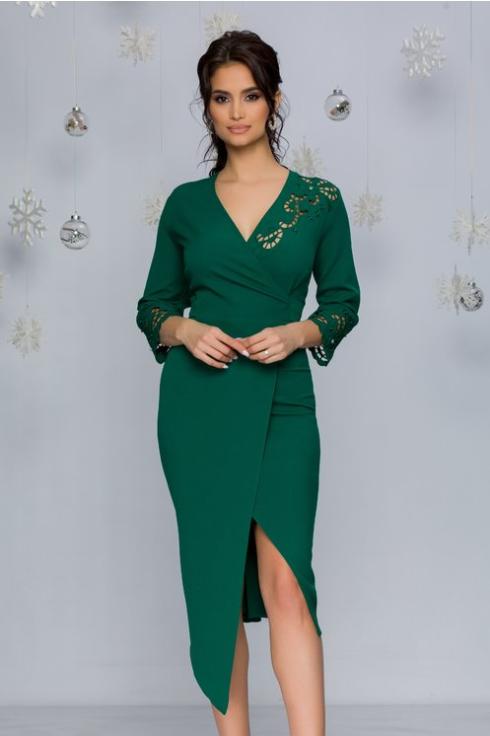 Rochie sexy eleganta de ocazii femei plinute verde deschis cu decupaje florale si aspect petrecut