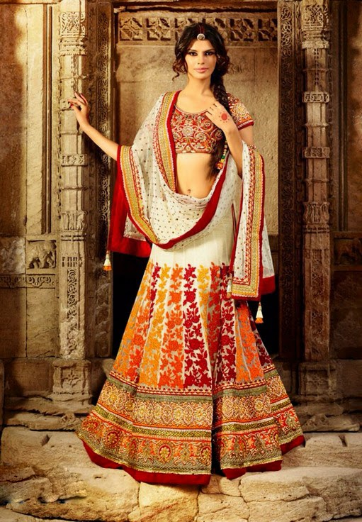 #Cream #Net #Lehenga With Cream Net Dupatta & Heavy Zari & Resham Work