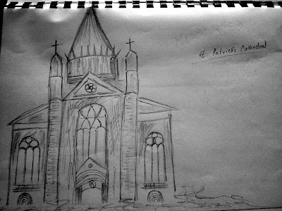 St Patricks Cathedral Sketch, Melbourne