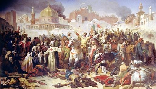 Pintura da cena da reconquista de Jerusalém