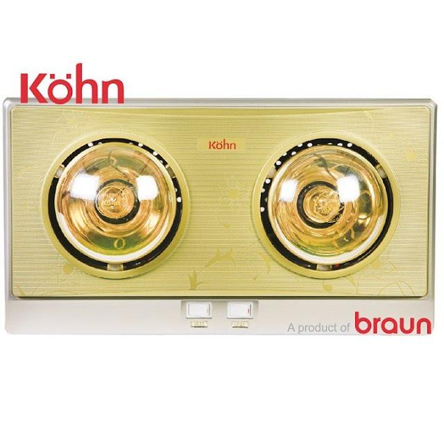 Đèn sưởi nhà tắm Braun Kohn KP02G 2 bóng