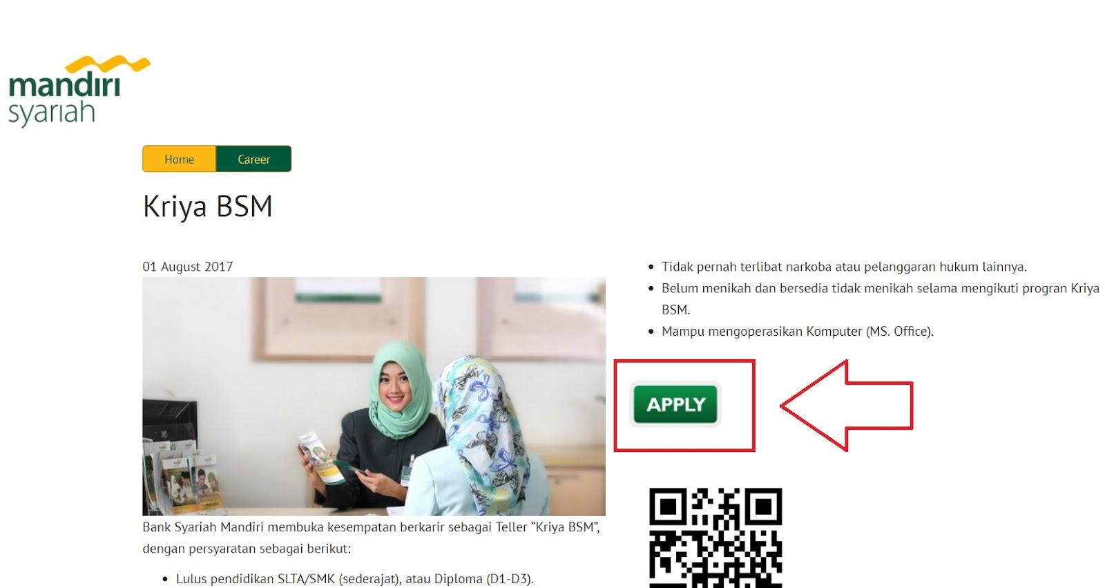 Melamar Teller Di Bank Mandiri Syariah Untuk Lulusan SMA SMK Sederajat Secara Online