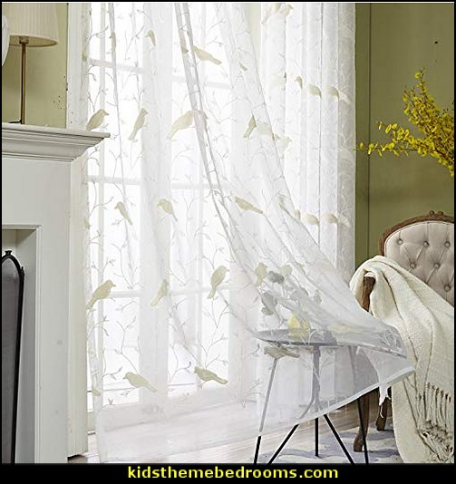 Sheer Curtains Embroidered Bird Design  birdcage bedroom ideas - decorating with birdcages - bird cage theme bedroom decorating ideas - bird themed bedroom design ideas - bird theme decor - bird theme bedding - bird bedroom decor - bird cage bedroom decor - bird cage lighting