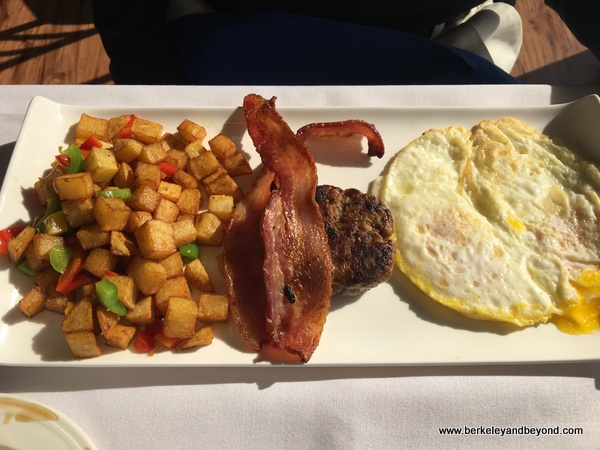 bacon and eggs at Eve's Waterfront Restaurant in Oakland, California